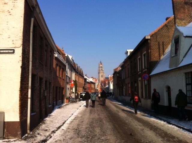 Snowy Street in Bruges