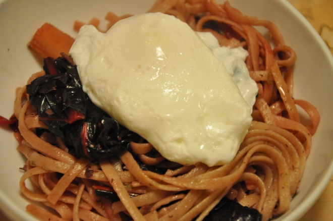 Whole Wheat Linguine with Swiss Chard & a Poached Egg