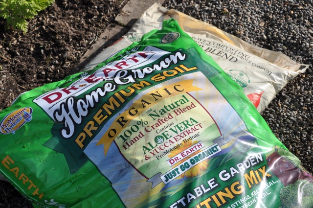 Dr. Earth Vegetable Garden Mix, and Cedar Grove Compost