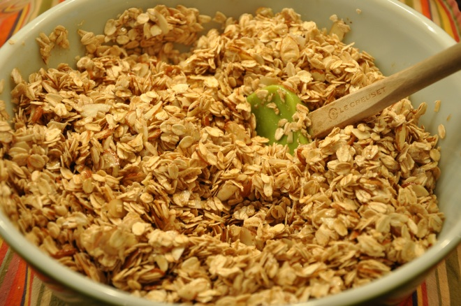 Fold in oats and almonds