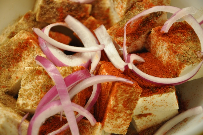 Tofu with Spices and Red Onion, Marinating