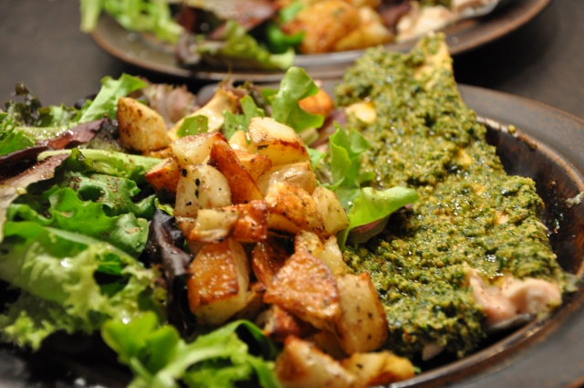 Baked Trout with Pesto and Greens