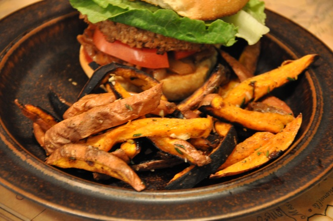Sweet Potato Fries and a Burger