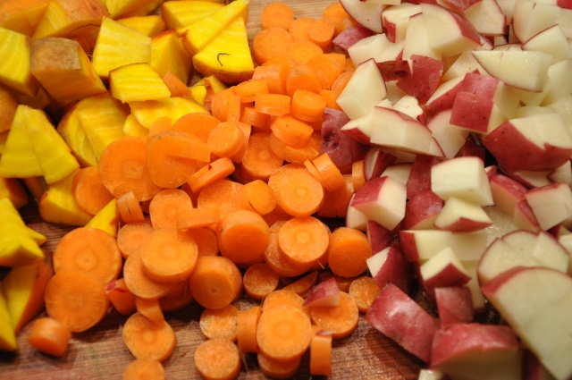 Chop Carrots, Potatoes & Golden Beet