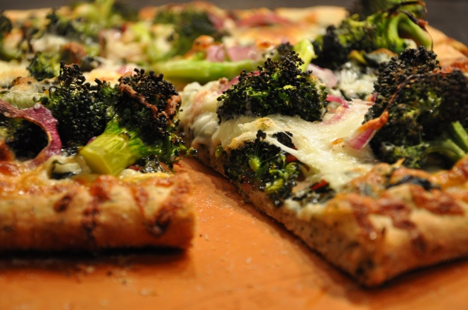 Blasted Broccoli, Swiss Chard Pizza