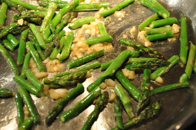 Sautee the Asparagus and Garlic