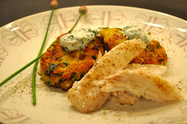 Quinoa Cakes, Grilled Halibut and Fresh Chives