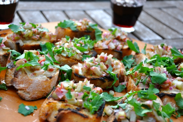 Rhubarb Bruschetta On the Patio