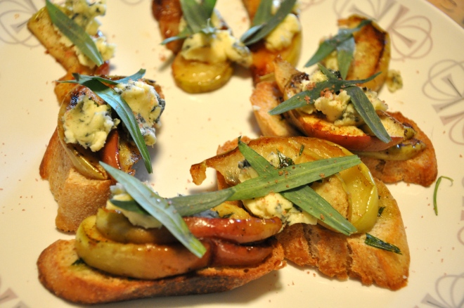 Crostini with Caramelized Apple and Bleu Cheese