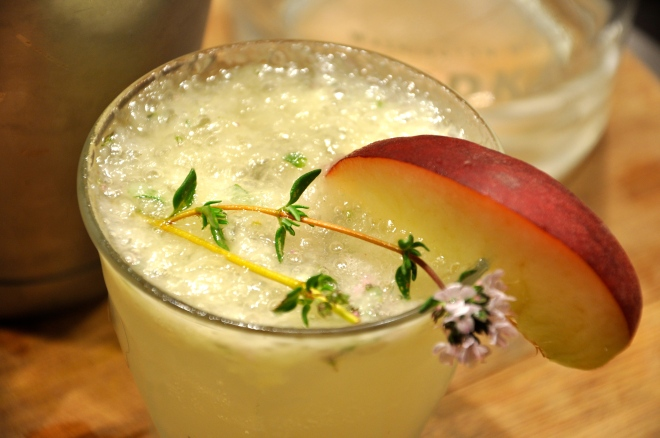 Muddled Peach and Thyme Vodka Cocktail