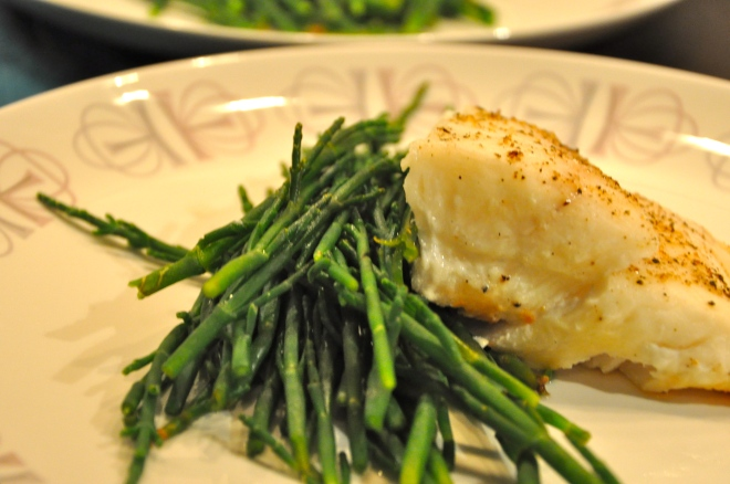 Sea Beans and Grilled Halibut