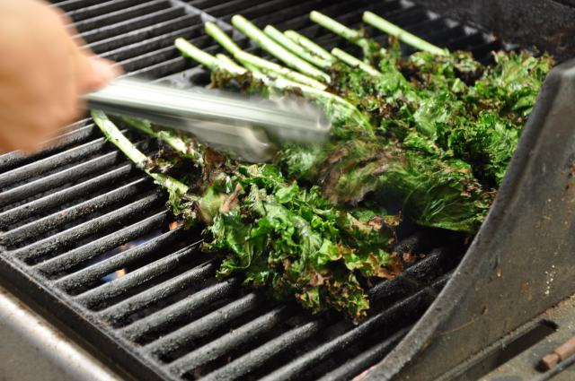 Grilled Kale Action Shot