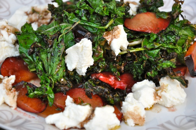 Grilled Kale Salad with Plums and Ricotta