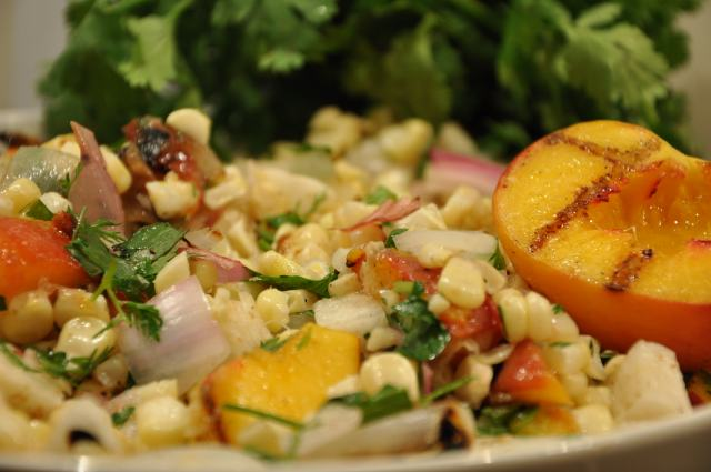Grilled Corn & Peach Salad
