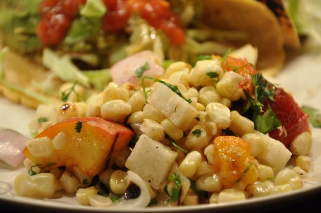 Grilled Corn Peach Salad with Fish Tacos