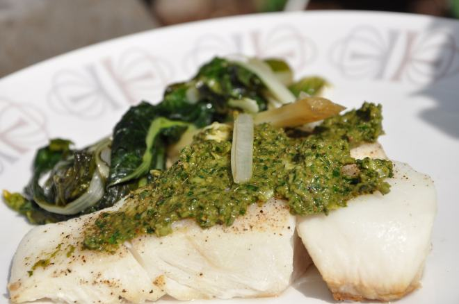 Pesto Halibut with Asian Style Pac Choi