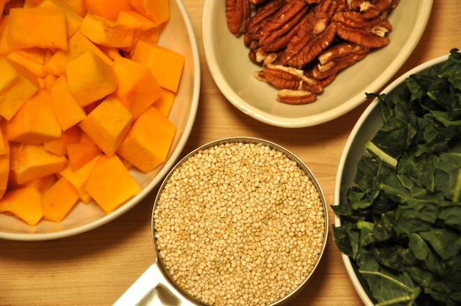 Squash, Quinoa, Kale and Pecans