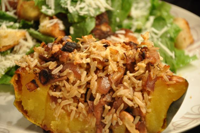 Onion, Rice and Mushroom Stuffed Squash