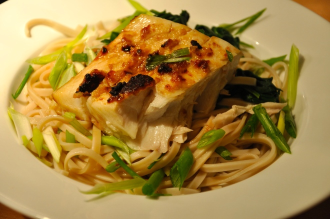 Broiled, Miso-Rubbed Halibut over Udon Noodles
