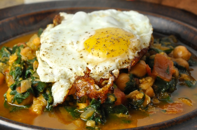 Chickpea Spinach with Fried Egg on Top