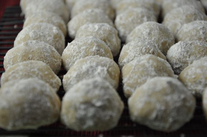 Russian Tea Cookies, all lined up