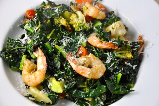 Warm Shrimp & Kale Stirfry/Salad