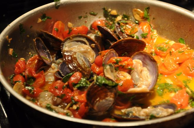 Simmer the clams