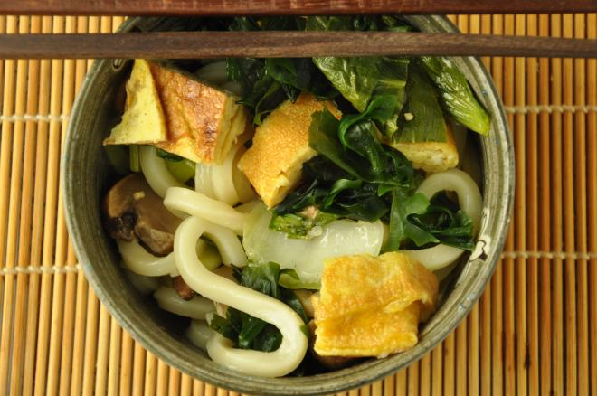 Hot Udon Noodles in Mushroom Broth
