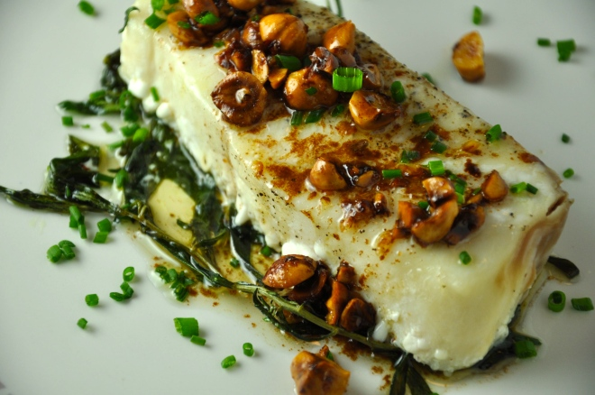 Halibut with Hazelnut Tarragon Butter