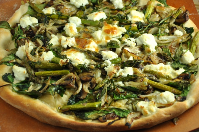 Pizza with Asparagus and Fennel