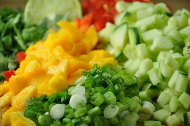 Chopped Vegetables & Mango