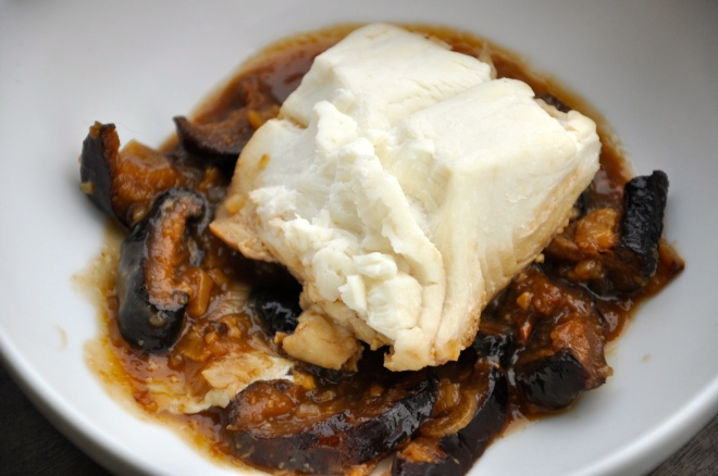 Poached Fish and Shiitakes