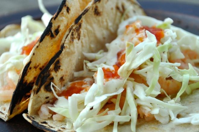 Shrimp Tacos with White Sauce