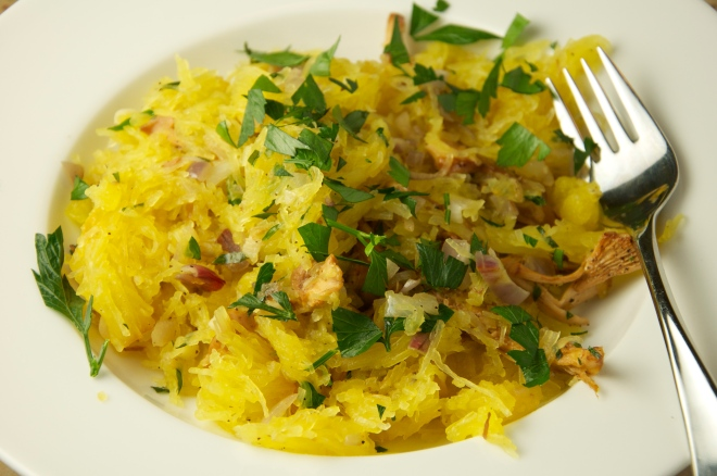 Spaghetti Squash with Chanterelle Mushrooms