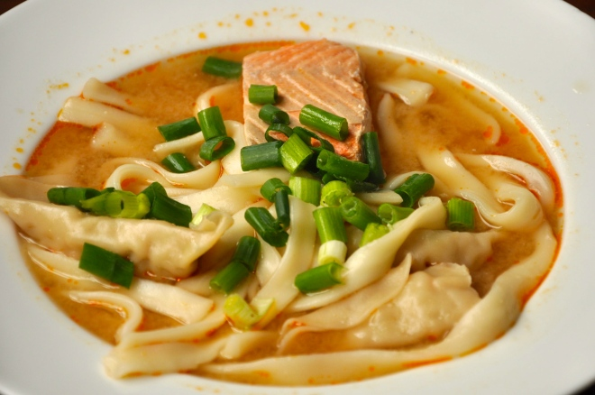 Miso Noodle Soup With Salmon