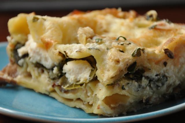 White Lasagna with Leeks, Mushrooms &Kale