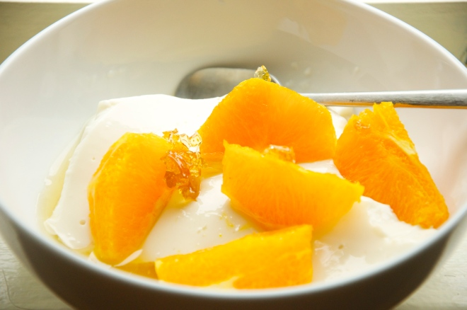 Buttermilk Pudding with Oranges in Simple Syrup