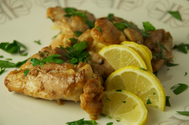 Garlicky Chicken with Lemon Anchovy Sauce