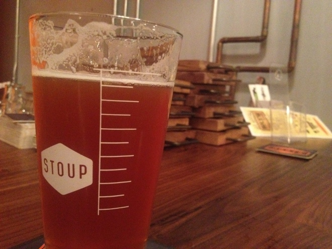 A Pint Glass at Stoup Brewing