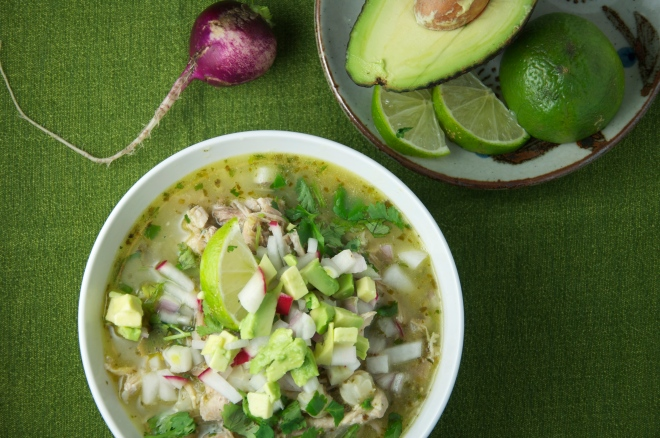 Green Posole with Turkey and Toppings