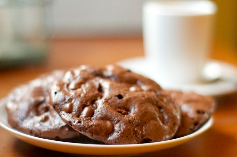 Chewy Dark Chocolate Cookies