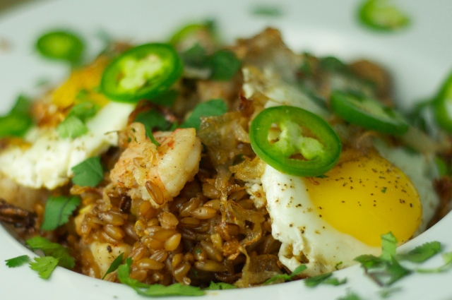 Stir-Fried Farro with Ginger Shrimp and Fried Egg