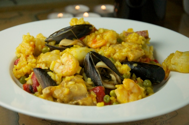 Paella by candlelight