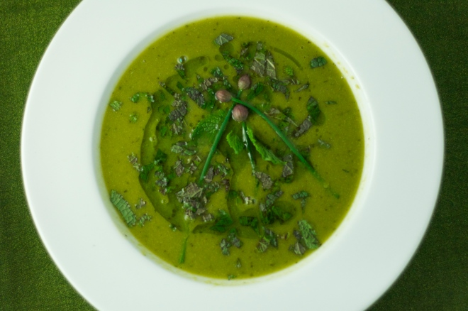 Fresh Pea & Mint Soup with Chive Oil