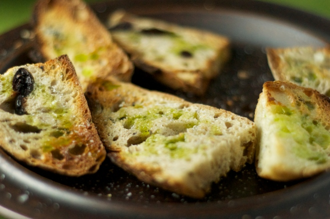 Garlic-Rubbed, Chive Oil Drizzled Toasts